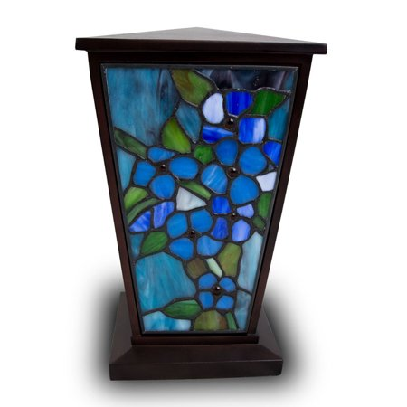 Stained Glass Memorial Urn For Adults - Large 200 Pounds -  Blue Forget-Me-Not - Engraving Sold Separately - Memorial Glass
