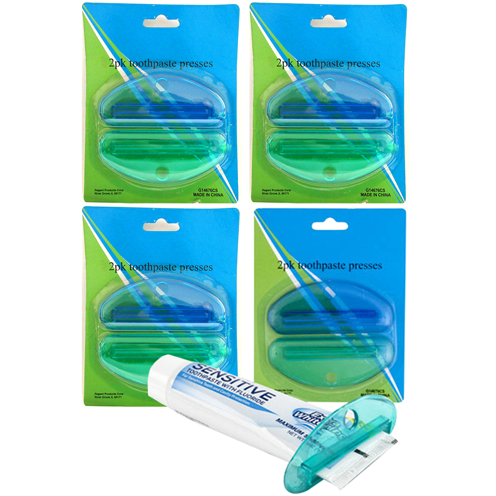 8 Pc Toothpaste Press Squeezer Plastic Tube Bathroom Dispenser Holder Rolling