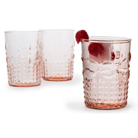 Vintage Pink Fleur de Lys Tumbler Drinking Glass (Glow Drinking Glasses)