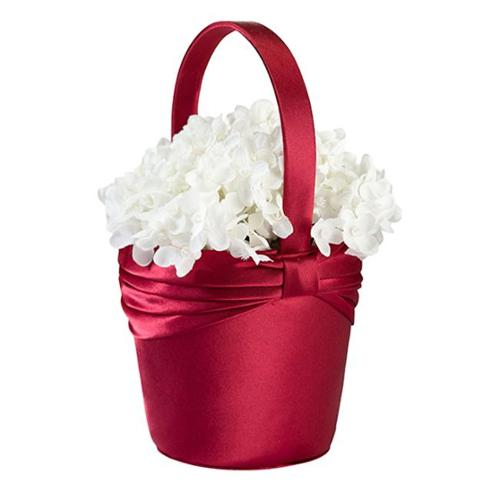 Lillian Rose Satin Sash Flower Girl Basket, Red
