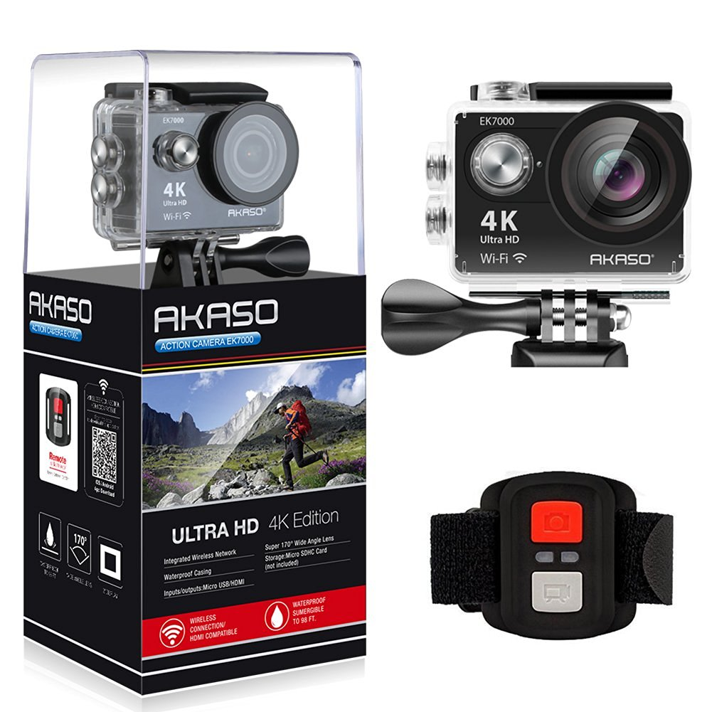 AKASO 4K WIFI Sports Action Camera Ultra HD Waterproof DV Camcorder 12MP 170 Degree Wide Angle EK7000-Black