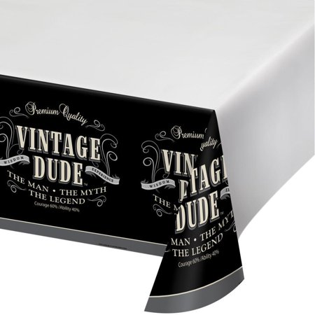 Creative Converting Vintage Dude Tablecover Plastic 54