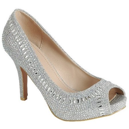 Bright-02 Women Party Prom Bridal Wedding Rhinestone Low Heel Platform Open Toe Pump Shoe (Open Toe Vintage Pumps)