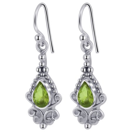 Gem Avenue 925 Sterling Silver Teardrop Gemstone Bali Bead Design French Hook Earrings with Bezel Setting