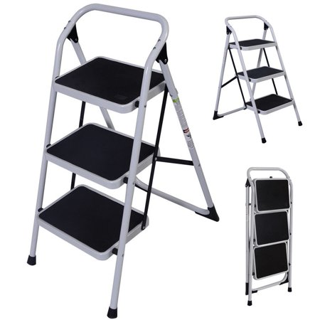 UBesGoo Portable 3 Step Ladder Humanity Slippery-Resistant Safety Short Stairs w/330lbs Capacity Platform Lightweight Short Handrail Iron Folding Stool for Home Use, Library Use Multi-Function (Portable Stick Ladders)