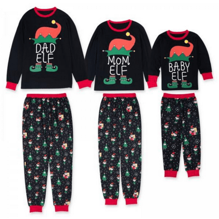 Mom Dad Kid ELF Print Family Matching Clothes Long Sleeve and Pants Christmas Pajamas Set (Christmas Pajamas For The Whole Family)