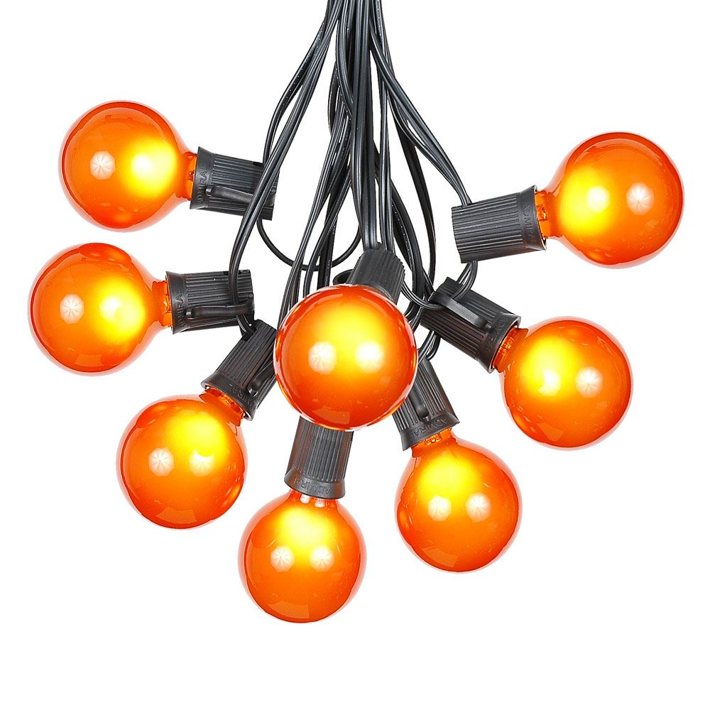G50 Patio String Lights with 125 Clear Globe Bulbs – Outdoor String Lights – Market Bistro Café Hanging String Lights – Patio Garden Umbrella Globe Lights - Black Wire - 100 Feet