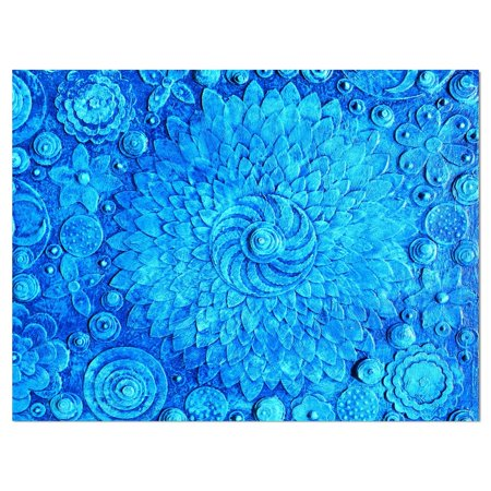 DESIGN ART Designart 'Circle Blue Flowers' Digital Art on wrapped -