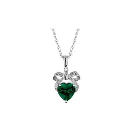 Created Emerald Bow and Heart Pendant Necklace with Diamonds 1.00 Carat (ctw) in Sterling Silver with - Bow Cross Pendant