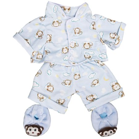 Blue Monkey Pajamas With Slippers Teddy Bear Clothes Outfit Fits Extraordinary Build A Bear Clothes Patterns