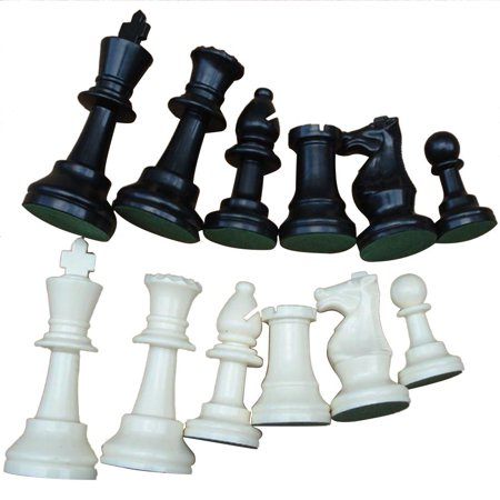 Weight Tournament Chess Game Set - Chess Board Game International Chess Pieces Complete Chessmen Set Black & White Large (Chess Game Pieces)