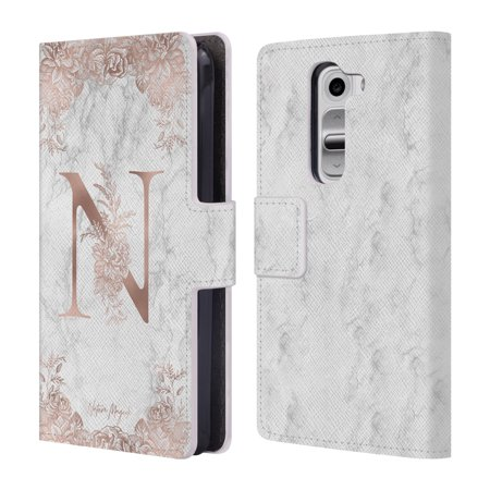 OFFICIAL NATURE MAGICK ROSE GOLD MARBLE MONOGRAM 2 LEATHER BOOK WALLET CASE COVER FOR LG PHONES 2