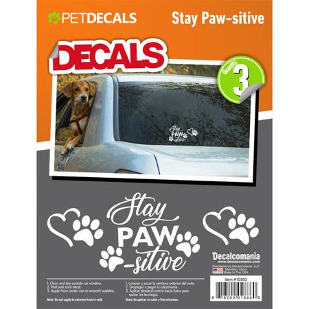 Stay Paw-sitive Heart Paw Vinyl Decals for Car Truck Vehicle Window Cat Dog Pet 3 Stickers