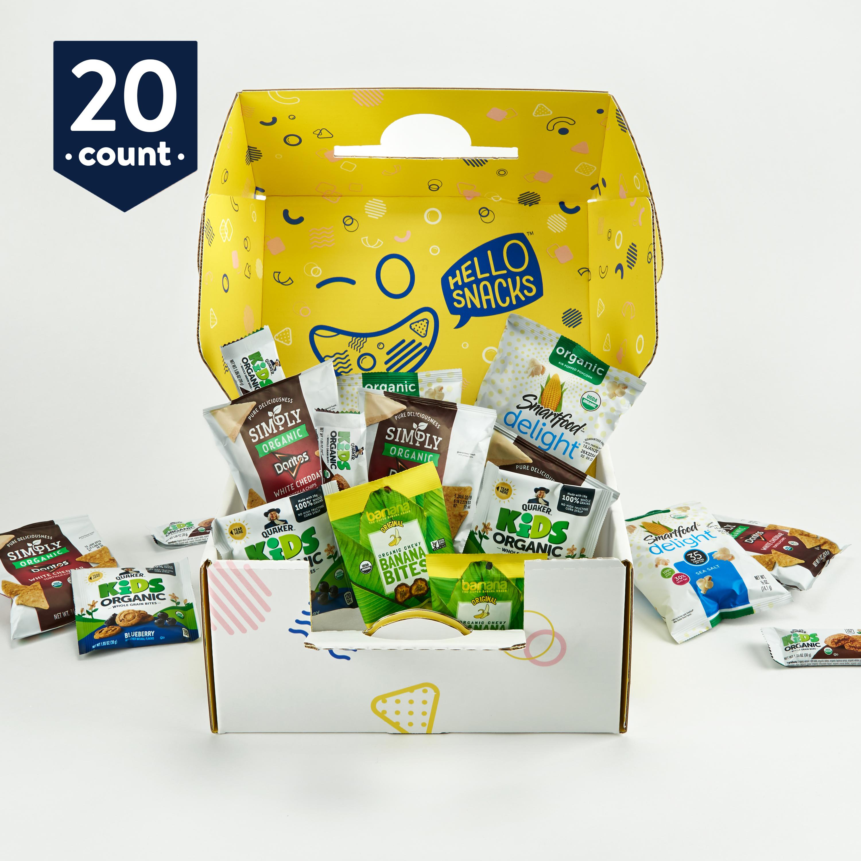 Hello Snacks Organic Treat Box: fun variety of fruit bites, whole grain bars, chips, popcorn (20 count)