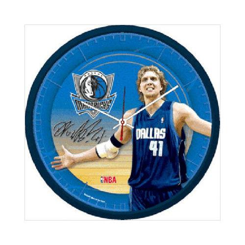 Wincraft, Inc. NBA 12.75'' Round Clock - Dallas Mavericks and Dirk Nowitzki