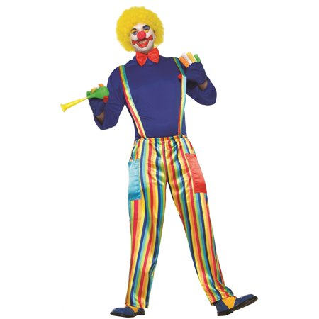Carnival Clown Costume Adult Unisex Rainbow Pants & Suspenders Size Standard
