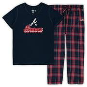 Atlanta Braves Concepts Sport Women's Plus Size T-Shirt and Flannel Pants Sleep Set - Navy