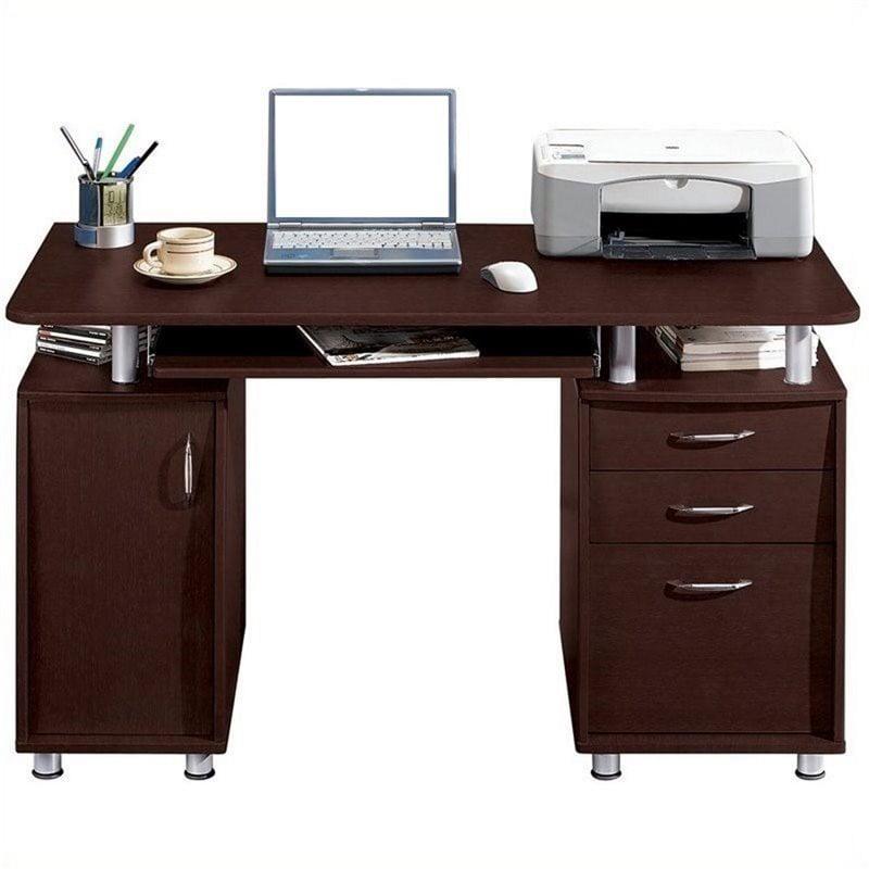 Pemberly Row Super Storage Computer Desk in Chocolate Finish - image 4 de 8