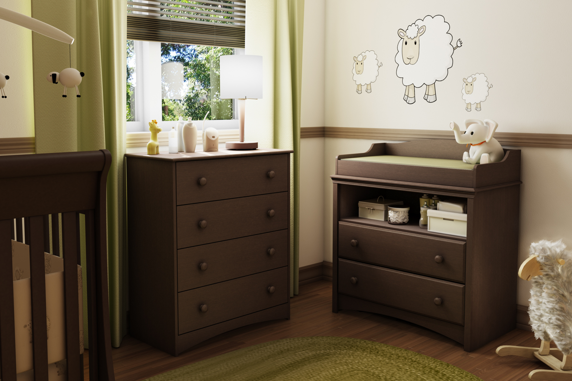 South Shore Angel Changing Table and 4-Drawer Chest Set, White by South Shore Furniture