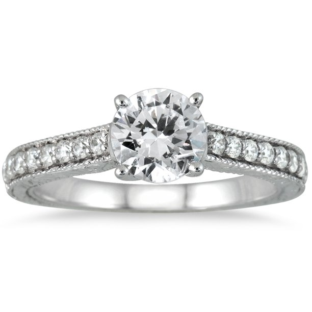 AGS Certified 1 Carat TW Diamond Ring in 14K White Gold (H-I Color, I1-I2 Clarity)
