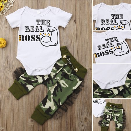 2pcs Newborn Baby Boys Bodysuit Romper Camo Pants Harem Outfits Set Clothes thumbnail