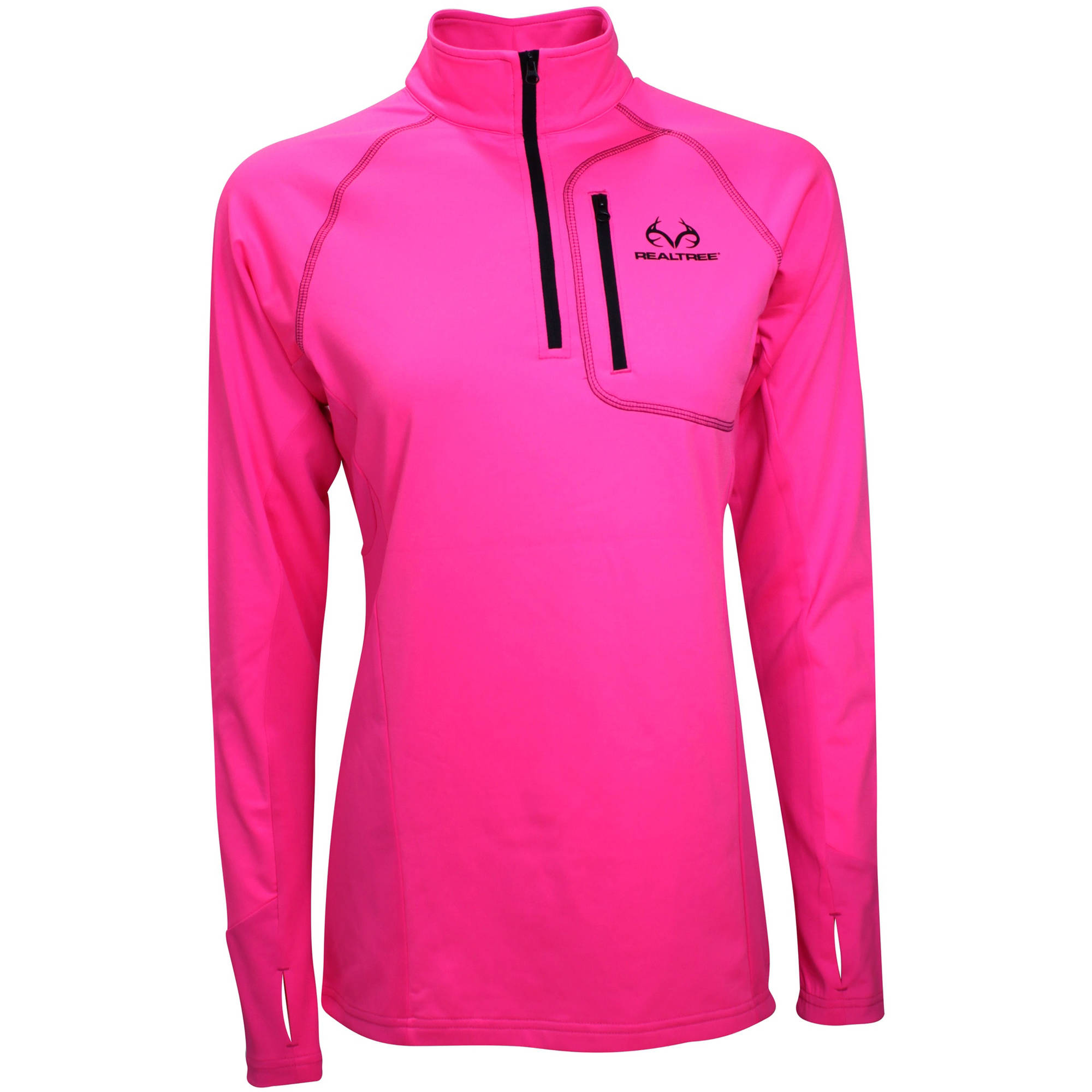 REALTREE LDS QTR ZIP - REALTREE SOLID SAFETY PINK