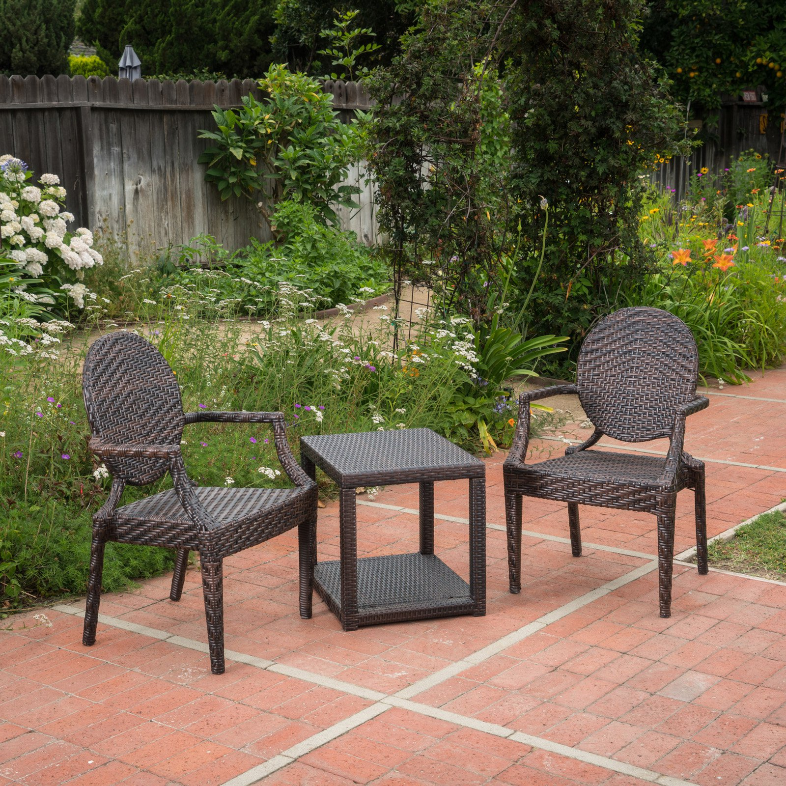 Mckinley Wicker 3 Piece Outdoor Stacking Chair Chat Set