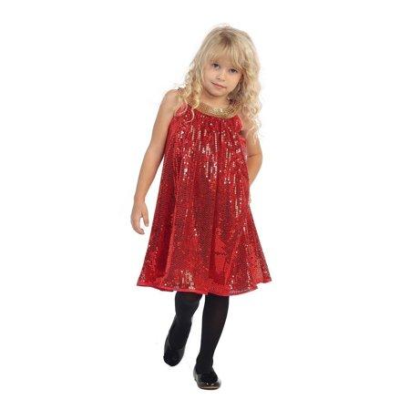 Angels Garment Little Girls Red Gold Sequence Tent Christmas Dress 5