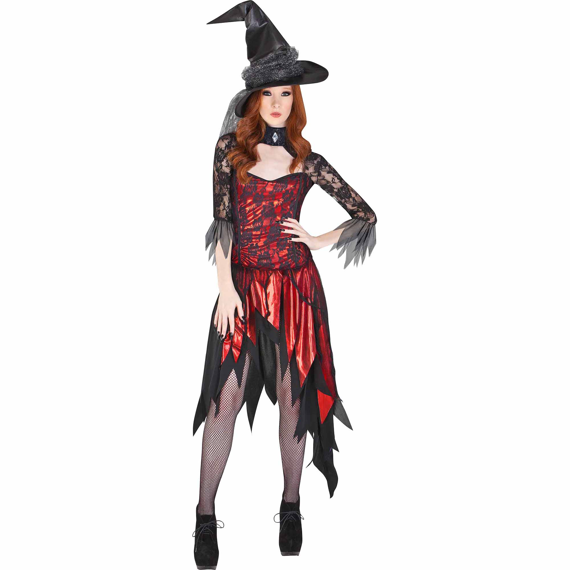 Lace Witch Top Red Adult Halloween Acces
