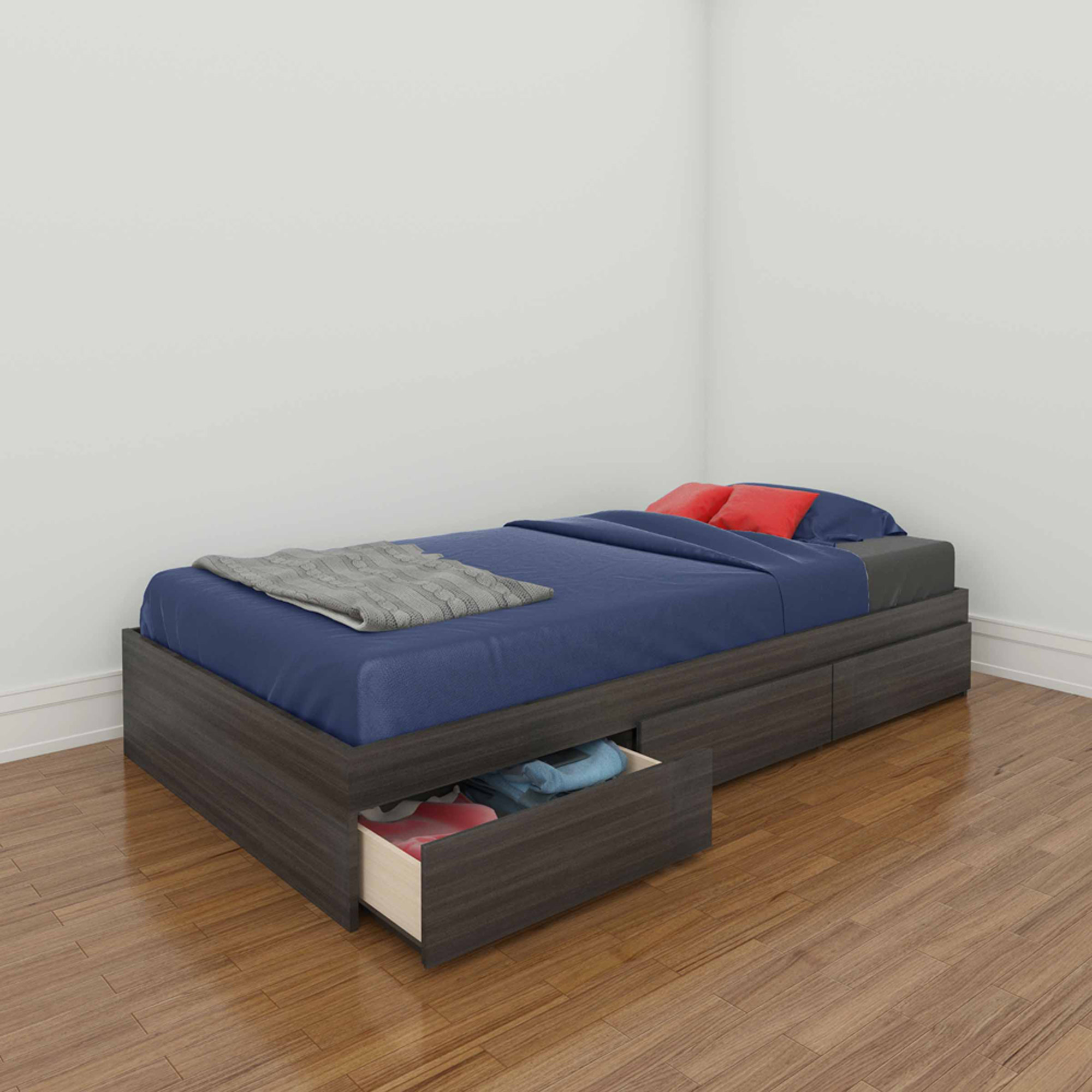 Nexera Atom Twin Reversible Storage Bed, White/Ebony