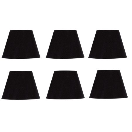 Set of Six European Drum Style Chandelier Lamp Shade 6 Inch Black Silk Clips Onto Bulb