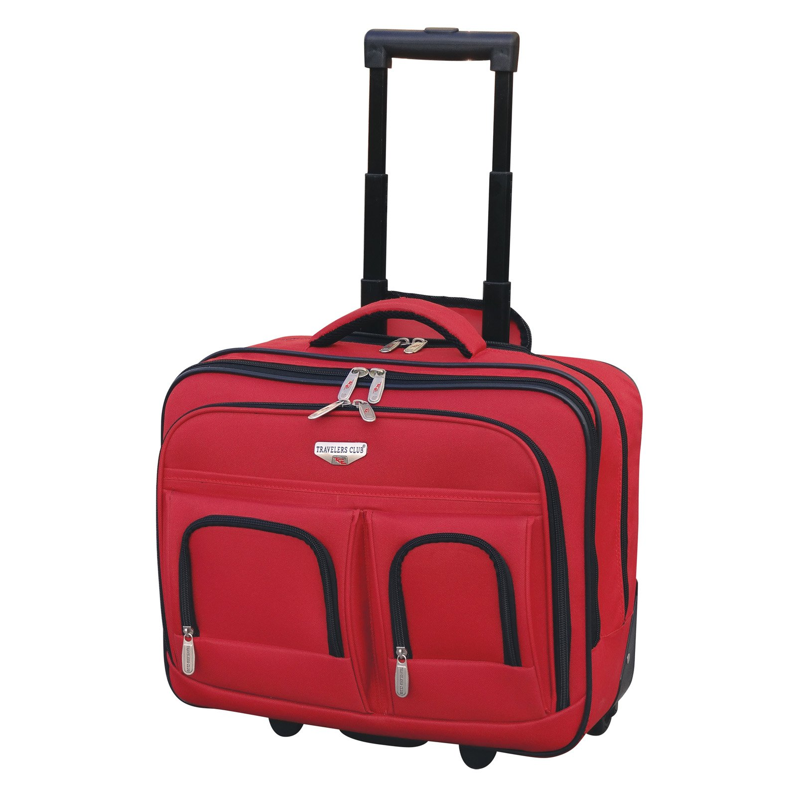 """Travelers Club Luggage 17"""" 2-Section Rolling Briefcase w/ Padded Laptop Compartment"""
