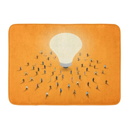 GODPOK White Tiny Group of People Walking to Light Bulb It 'S Brainstorm Inspiration Idea Concept Isometric 10 Rug Doormat Bath Mat 23.6x15.7 inch ()