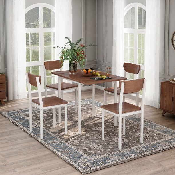 URHOMEPRO Metal Dining Table Set With 4 Chairs, Heavy-Duty 1 Drop Leaf Dining Table And 4 Dining Chairs, Kitchen Dining Set For Breakfast Nook, Small Spaces Dining Room Furniture, Walnut, W10371 -