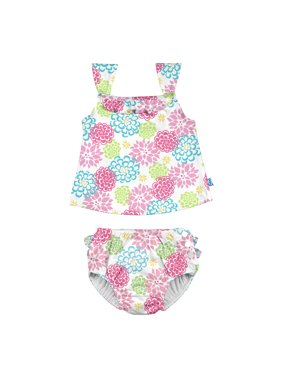 i play. Baby Toddler Girl Ruffle Tankini Swimsuit with Snap Reusable Absorbent Diaper