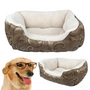 Pet Bed, CoastaCloud Puppy Kitten Washable Pet Comfortable Self Warming Nest Cat Pad Waterloo Rectangle Pet Bed Cushion with Soft Fleece Lining 3 Gold