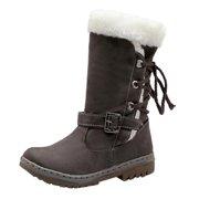 Womail Classics Women Snow Boots Fashion Flat Heels Winter Shoes Warm Fur Boots