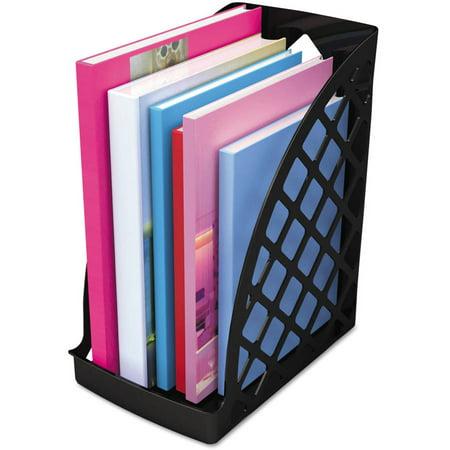(2 Pack) Universal Recycled Plastic Large Magazine File, 6 1/4 x 9 1/2 x 11 3/4, Black (Plastic Magazine Organizer)