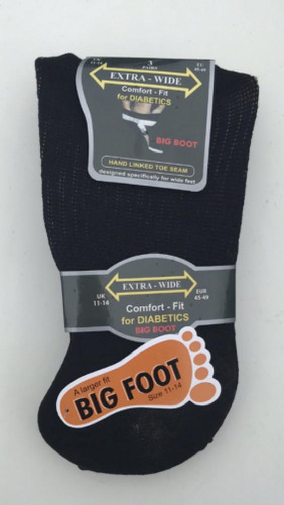 3 Paires Homme Diabétique extra-large Coton Riche Large Top chaussettes UK 6-11