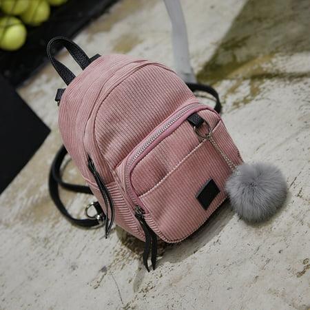 Corduroy Laminated Buckle Bag (Mini Simple Travel Schoolbag Teenage Girls Women Backpack Casual Corduroy Bags)