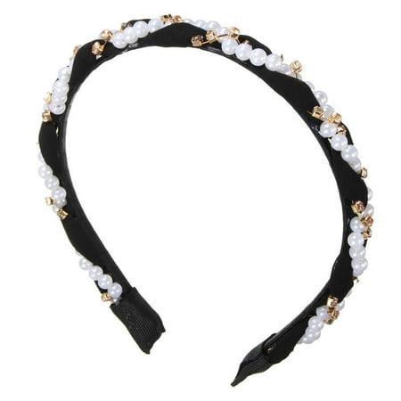 Charmed Princess Silver Rhinestone Headband Faux Pearl; Wedding, - Sweet 16 Headband