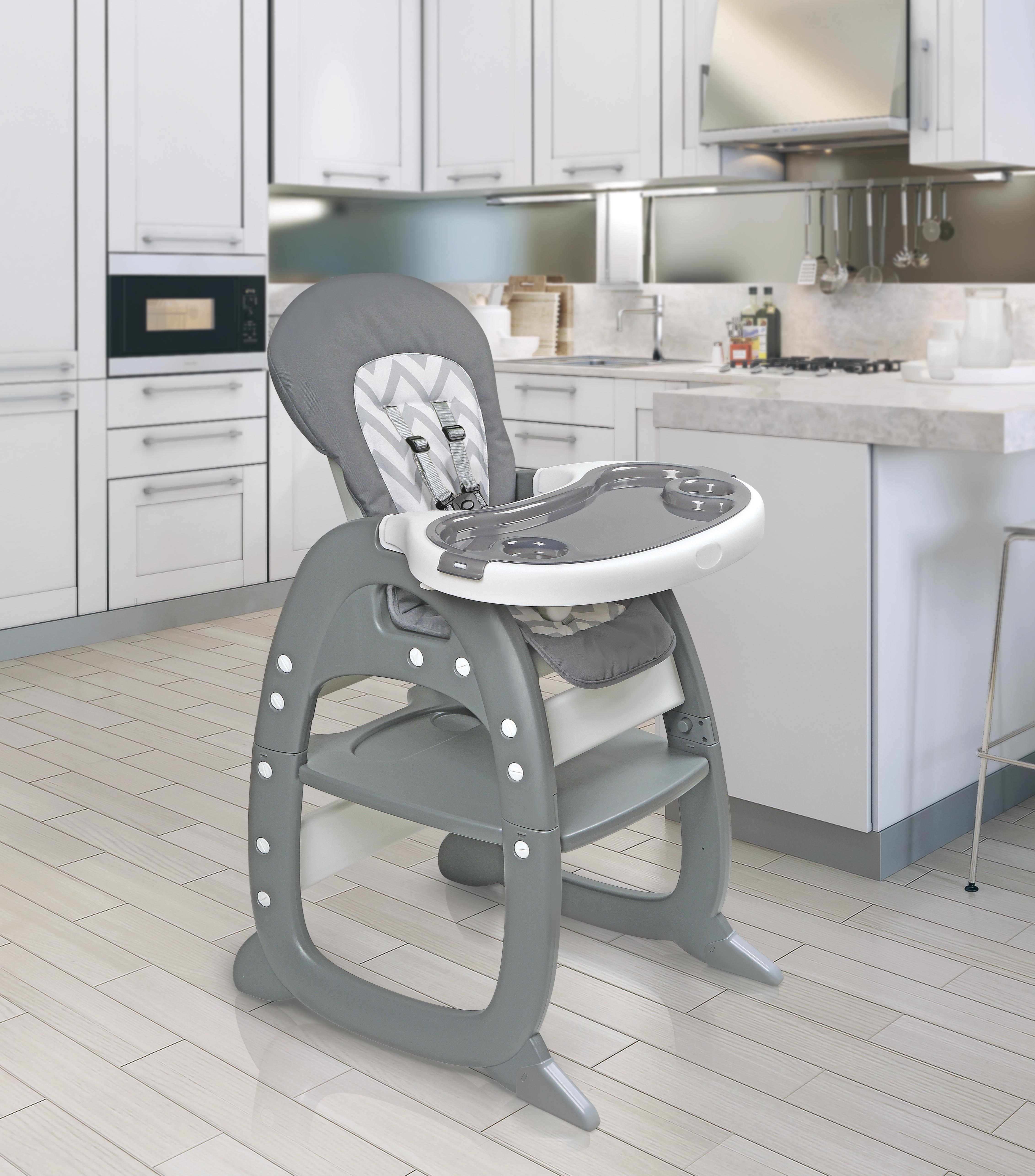 Badger Basket Envee II Baby High Chair With Playtable Conversion,  Gray/Chevron