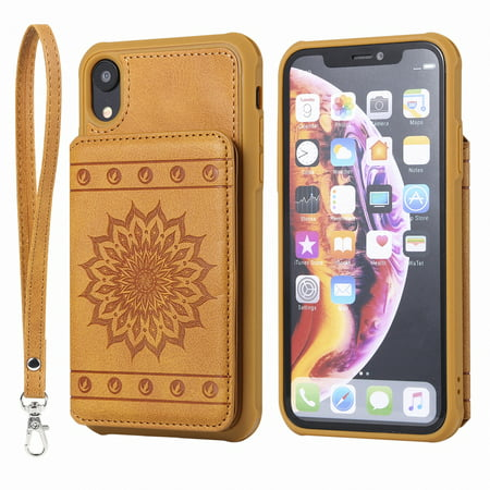 official photos 519fb 449cc iPhone Xr Case, Allytech Embossed Sunflower Series, [Removable Wrist Strap]  Premium PU Flip Wallet Case with Card Holder Cover for Apple iPhone Xr ...