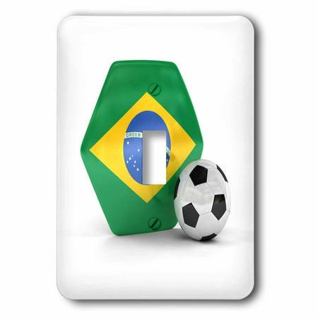 3dRose Brazil Soccer Ball - Single Toggle Switch