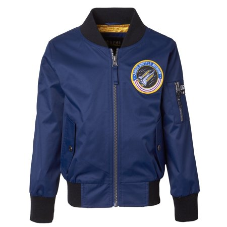 iXtreme Big Boys Poly Twill Flight Midweight Bomber Jacket with (2 Navy Patrol Bomber)