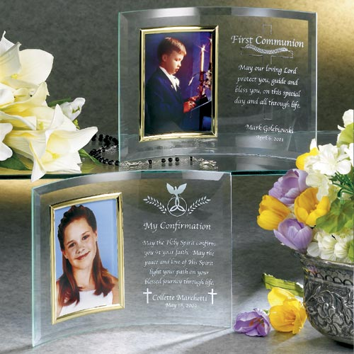 Personalized First Communion Beveled Glass Frame
