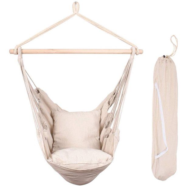Lazy Daze Hammocks Hanging Rope Hammock Chair Swing Seat With Two Seat Cushions And Carrying Bag Weight Capacity 300 Lbs Natural Walmart Com Walmart Com