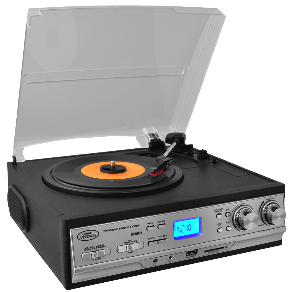 Pyle PTTCS9U - Classic Retro Style Turntable - Plays AM/FM Radio, Cassettes & MP3s - USB/SD Direct Record Function & Aux Input For iPod/MP3 Players
