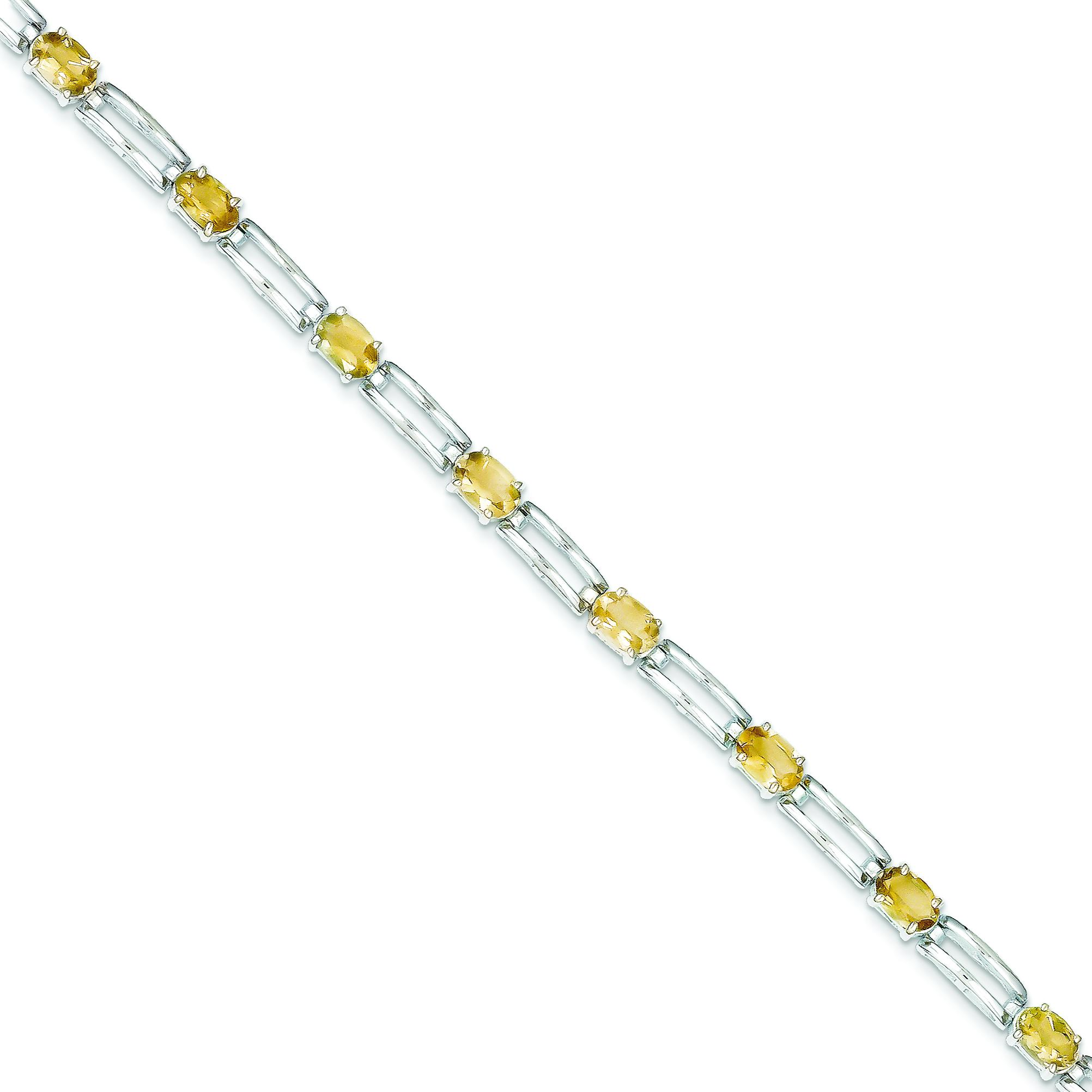 Sterling Silver Citrine Fancy Link Bracelet QX205CI by