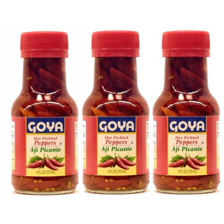 Goya Hot Pickled Red Peppers Aji Picante 6 oz (Pack of